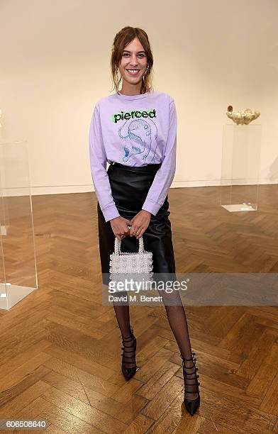 Alexa Chung attends the Shrimps SS17 Presentation dinner featuring Converse at Christie's on September 16 2016 in London England