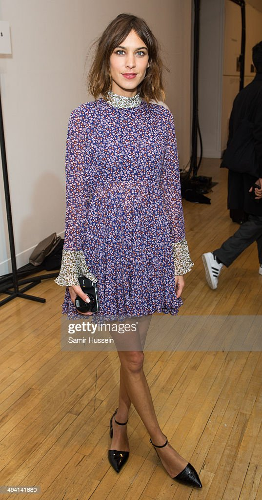 Alexa Chung attends the Topshop Unique show during London Fashion Week Fall/Winter 2015/16 on February 22, 2015 in London, United Kingdom.