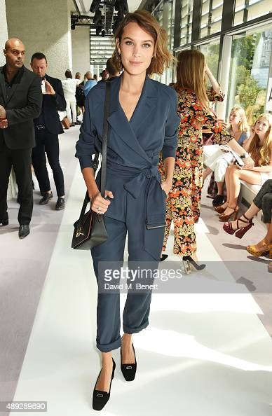 Alexa Chung attends the Topshop Unique show during London Fashion Week SS16 at The Queen Elizabeth II Conference Centre on September 20 2015 in...
