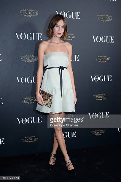 Alexa Chung attends the Vogue 95th Anniversary Party Photocall as part of the Paris Fashion Week Womenswear Spring/Summer 2016 on October 3 2015 in...