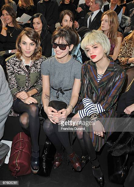 Alexa Chung Daisy Lowe and Pixie Geldof attend the Louis Vuitton Ready to Wear show as part of the Paris Womenswear Fashion Week Fall/Winter 2011 at...