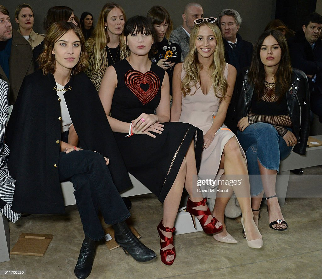 Alexa Chung, Daisy Lowe, Olivia Harley Viera Newton and Atlanta De Cadenet attend the Christopher Kane show during London Fashion Week Autumn/Winter 2016/17 at Tate Modern on February 22, 2016 in London, England.