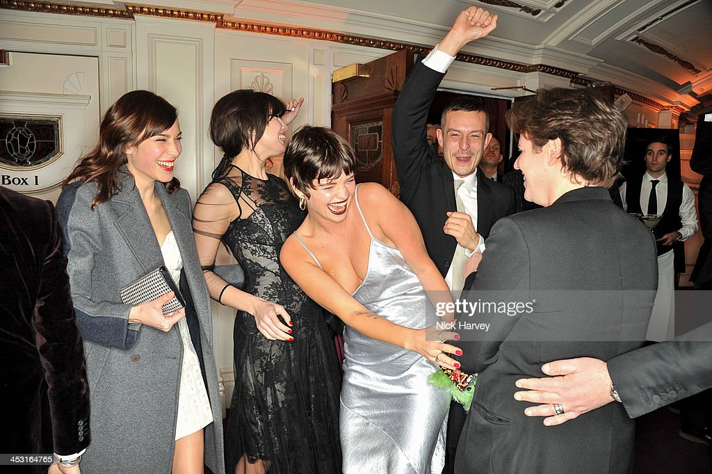 Alexa Chung, Daisy Lowe, Pixie Geldof, guest and Christopher Kane attend the British Fashion Awards 2013 at London Coliseum on December 2, 2013 in London, England.