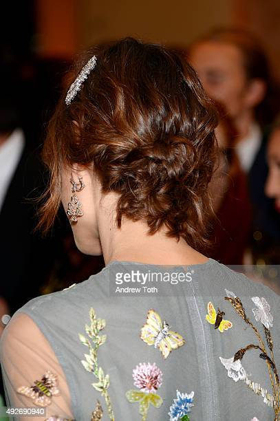 Alexa Chung hair detail attends Bvlgari And Rome Eternal Inspiration Opening Night at Bulgari Fifth Avenue on October 14 2015 in New York City