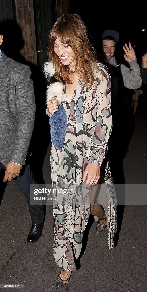 Alexa Chung is seen arriving at Shorditch House on August 15, 2014 in London, England.