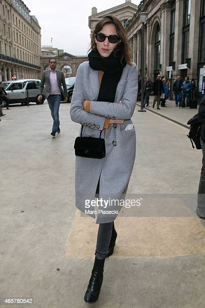 Alexa Chung is seen at the 'gare du Nord' station on March 10 2015 in Paris France