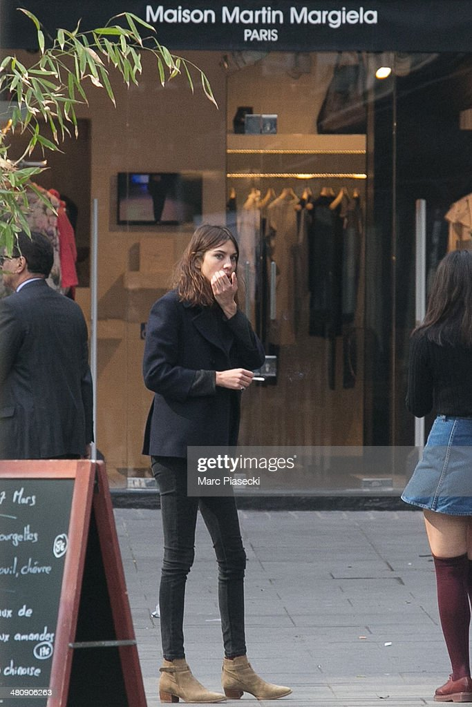 Alexa Chung is seen at the 'Place du Marche Saint Honore' on March 27, 2014 in Paris, France.