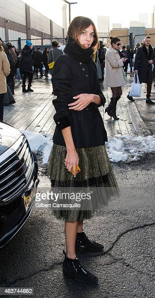 Alexa Chung is seen leaving Marc By Marc Jacobs fashion show during MercedesBenz Fashion Week Fall 2015 at Pier 36 on February 17 2015 in New York...
