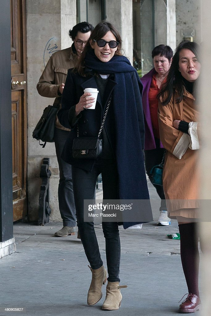 <a gi-track='captionPersonalityLinkClicked' href=/galleries/search?phrase=Alexa+Chung&family=editorial&specificpeople=3141821 ng-click='$event.stopPropagation()'>Alexa Chung</a> (L) is seen strolling on the 'Rue de Rivoli' on March 27, 2014 in Paris, France.
