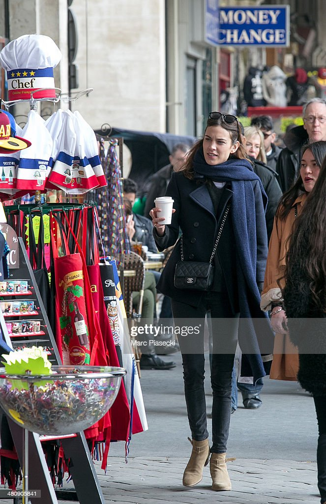 <a gi-track='captionPersonalityLinkClicked' href=/galleries/search?phrase=Alexa+Chung&family=editorial&specificpeople=3141821 ng-click='$event.stopPropagation()'>Alexa Chung</a> is seen strolling on the 'Rue de Rivoli' on March 27, 2014 in Paris, France.