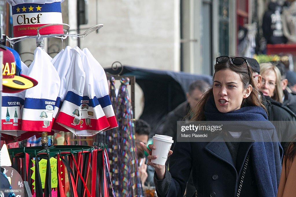 Alexa Chung is seen strolling on the 'Rue de Rivoli' on March 27, 2014 in Paris, France.