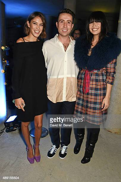 Alexa Chung Nick Grimshaw and Daisy Lowe attend the House Of Holland show during London Fashion Week SS16 at Collins Music Hall on September 19 2015...