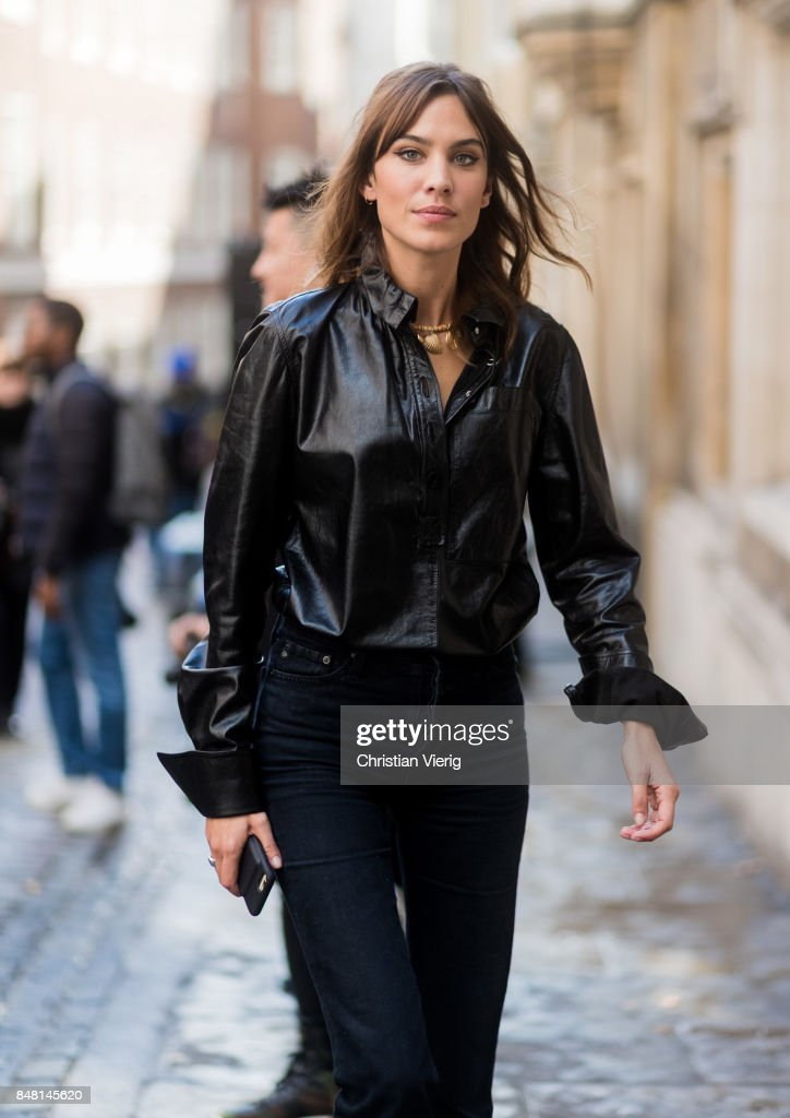 Alexa Chung outside Simone Rocha during London Fashion Week September 2017 on September 16, 2017 in London, England.