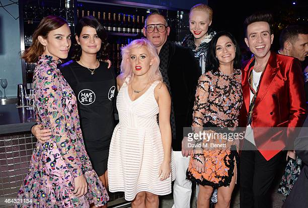 Alexa Chung Pixie Geldof Aimee Phillips Giles Deacon Gwendoline Christie Leigh Lezark and Nick Grimshaw attend the Elle Style Awards 2015 at Sky...