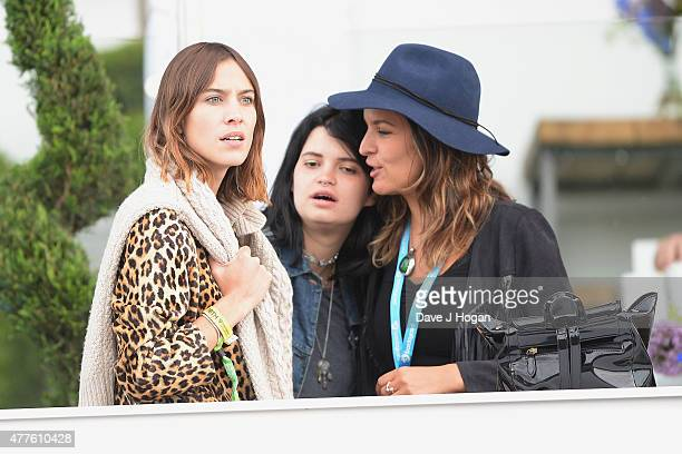 Alexa Chung Pixie Geldof and Lliana Bird in the Barclay Card VIP Hospitality Suite as part of the British Summer Time 2015 gigs at Hyde Park on June...
