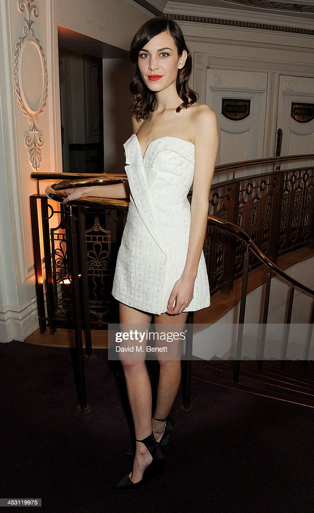 Alexa Chung poses at the British Fashion Awards 2013 at London Coliseum on December 2, 2013 in London, England.