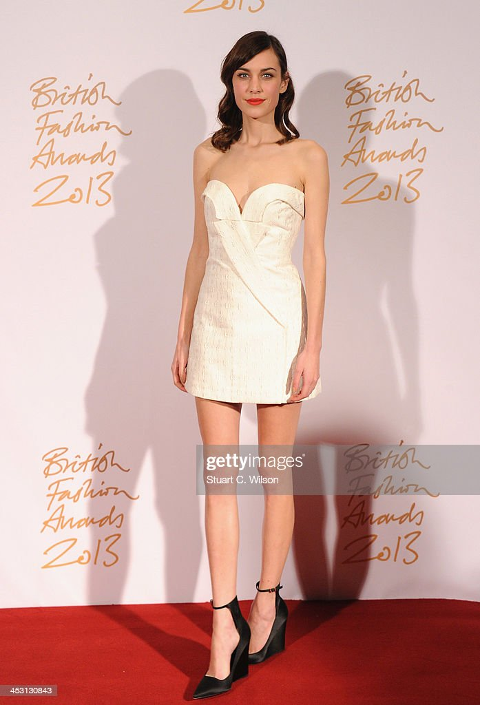 Alexa Chung poses in the winners room at the British Fashion Awards 2013 at London Coliseum on December 2, 2013 in London, England.