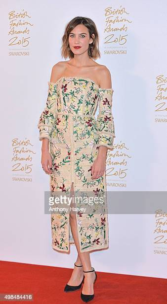 Alexa Chung poses in the Winners Room at the British Fashion Awards 2015 at London Coliseum on November 23 2015 in London England
