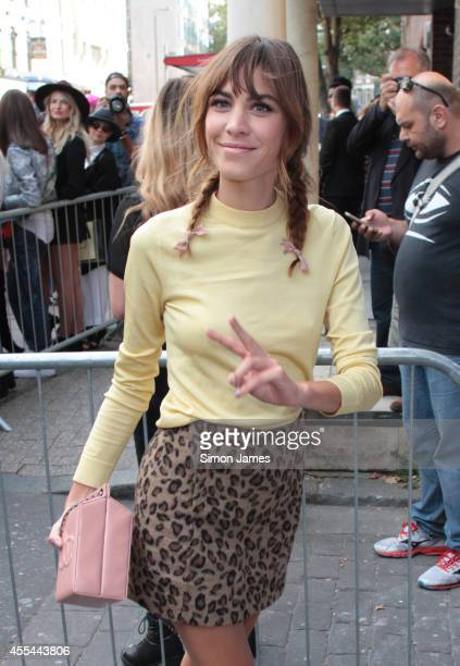 Alexa Chung seen arriving to Topshop Unique Show on September 14 2014 in London England