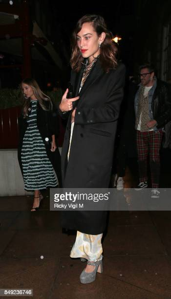 Alexa Chung seen at Miu Miu X LOVE Magazine party at No 5 Hertford Street during London Fashion Week September 2017 on September 18 2017 in London...