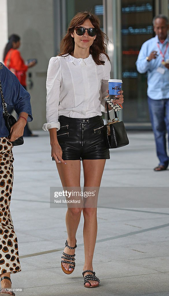 Alexa Chung seen leaving BBC Radio One on September 5, 2013 in London, England.