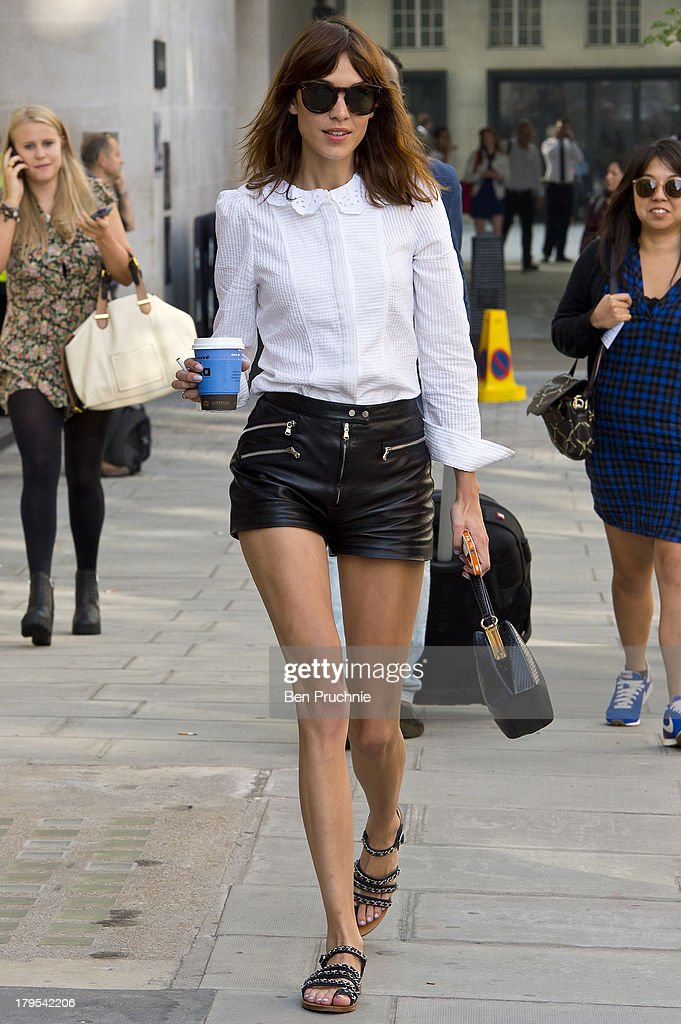 <a gi-track='captionPersonalityLinkClicked' href=/galleries/search?phrase=Alexa+Chung&family=editorial&specificpeople=3141821 ng-click='$event.stopPropagation()'>Alexa Chung</a> sighted at BBC Radio Studios on September 5, 2013 in London, England.
