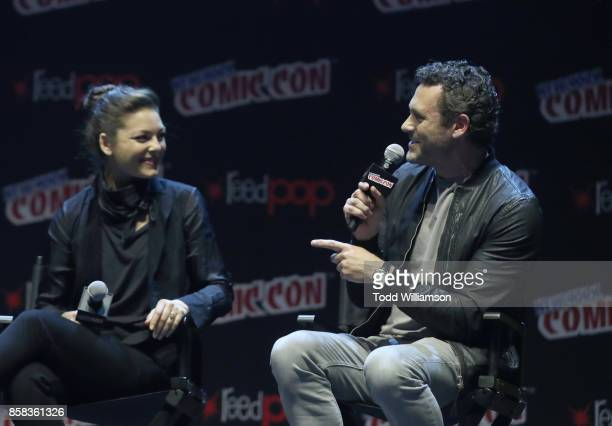 Alexa Davalos and Jason O'Mara onstage at 'The World of Philip K Dick' The Man in the High Castle and Philip K Dick's Electric Dreams Panel at...