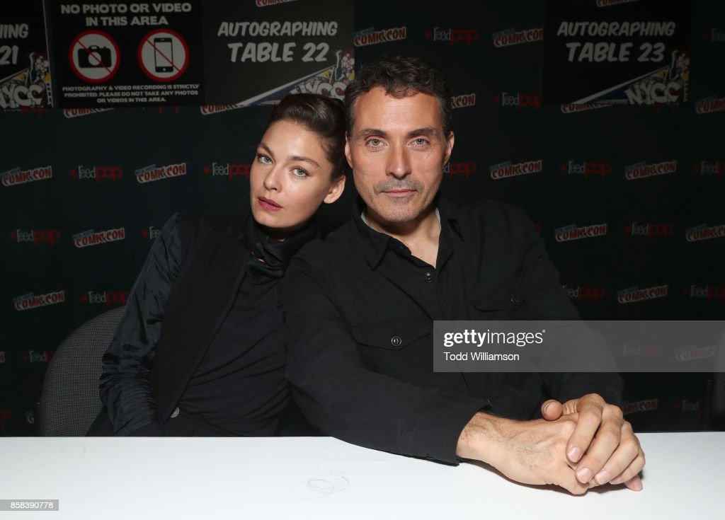 Alexa Davalos (L) and Rufus Sewell attend 'The World of Philip K. Dick' - The Man in the High Castle and Philip K. Dick's Electric Dreams Autograph Signing at The Jacob K. Javits Convention Center on October 6, 2017 in New York City.