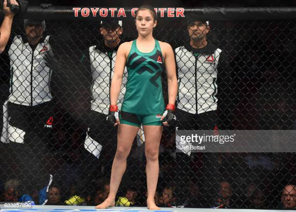 Alexa Grasso of Mexico enters the Octagon before facing Felice Herrig in their women's strawweight bout during the UFC Fight Night event at the...