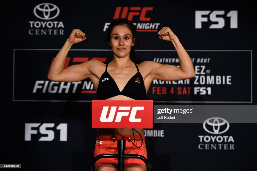 Alexa Grasso of Mexico poses on the scale during the UFC Fight Night weigh-in at the Sheraton North Houston at George Bush Intercontinental on February 3, 2017 in Houston, Texas.