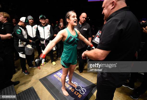 Alexa Grasso of Mexico prepares to enter the Octagon before facing Felice Herrig in their women's strawweight bout during the UFC Fight Night event...