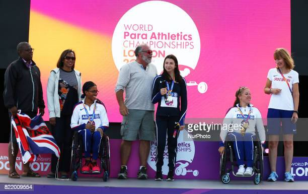 LR Alexa Halko of USA with her Dad Hannah Cockcroft of Great Britain with her coach and Kane Adenegan of Great Britain with her Mum and Dad Women's...