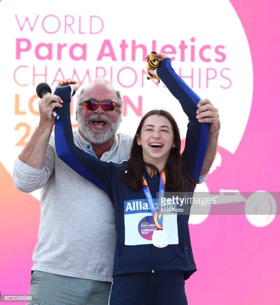 Alexa Halko of USA with her Dad Women's 400m T34 during World Para Athletics Championships at London Stadium in London on July 21 2017