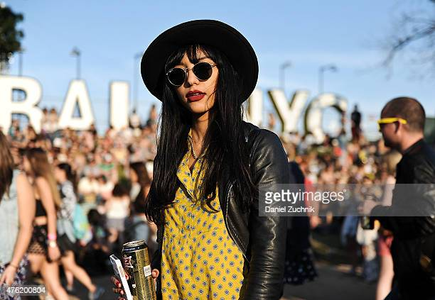 Alexa is seen wearing an HM dress and Unif jacket during the 2015 Governors Ball Music Festival on June 6 2015 in New York City