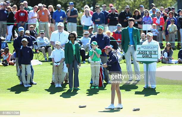 Alexa Pano winner of the 1011 Girls category in action during the Drive Chip and Putt Championship at Augusta National Golf Club on April 3 2016 in...