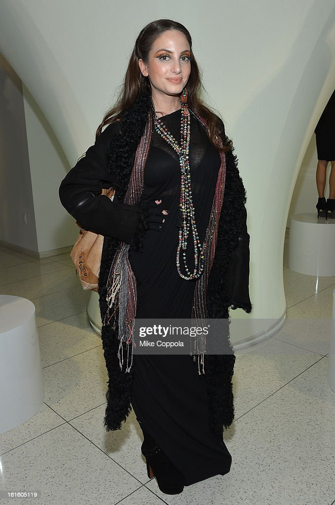 Alexa Ray Joel poses at the Elie Tahari Fall 2013 fashion show presentation during Mercedes-Benz Fashion Week at The Studio at Lincoln Center on February 12, 2013 in New York City.