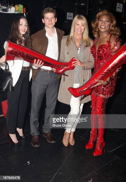Alexa Ray Joel Stark Sands as 'Charlie' Christie Brinkley and Billy Porter as 'Lola' pose backstage at the hit Tony Nominated musical 'Kinky Boots'...