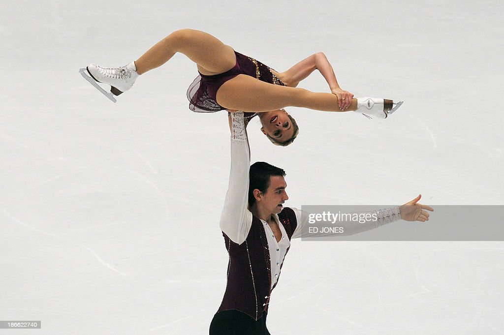 Alexa Schiema and Chris Knierim of the US compete during the Pairs Free Skating event of the Cup of China ISU Grand Prix Figure Skating in Beijing on November 2, 2013. Schiema and Knierim finished with a score of 161.72 for 5th place.