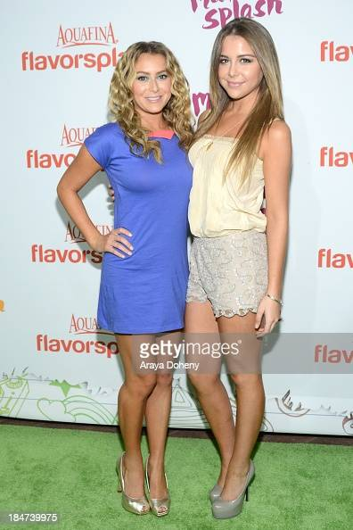 Alexa Vega and Makenzie Vega attend the Aquafina FlavorSplash Launch Party With Austin Mahone Nick Cannon at Sony Pictures Studios on October 15 2013...