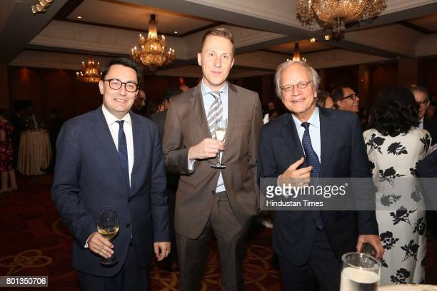 Alexanbdre Ziegler Stijn Mols and Alphonsus Stoelinga during the Luxembourg National Day celebration at Taj Mahal Hotel on June 23 2017 in New Delhi...