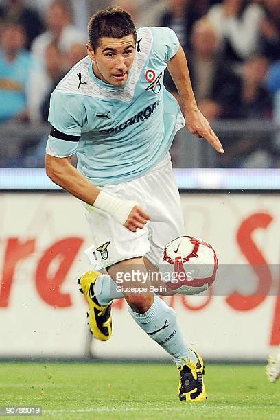Alexandar Kolarov of SS Lazio during the Serie A match between SS Lazio v FC Juventus at Stadio Olimpico on September 12 2009 in Rome Italy