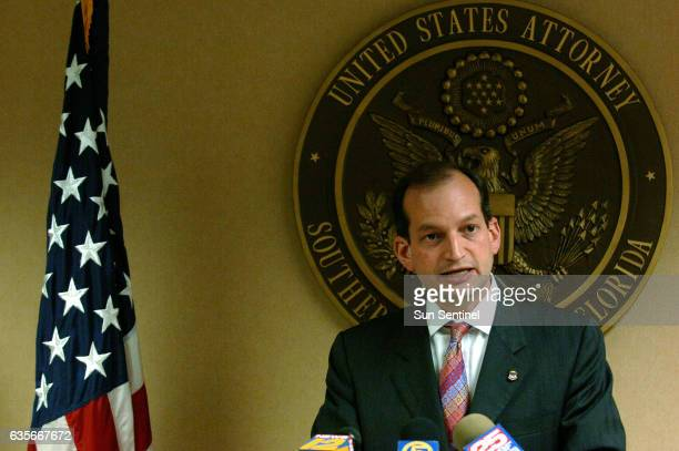 Alexander Acosta United States Attorney for the Southern District of Florida speaks at a press conference on the alledged illegal activities of West...