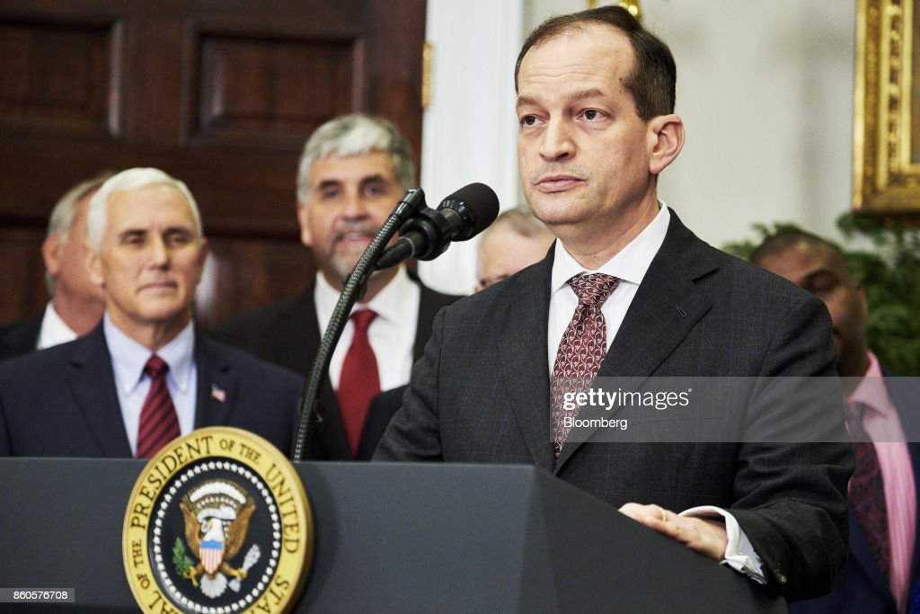 Alexander Acosta, U.S. labor secretary, speaks before U.S. President Donald Trump, not pictured, signs an executive order on health care in the Roosevelt Room of the White House in Washington, D.C., U.S., on Thursday, Oct. 12, 2017. Trumpsigned an executive order Thursday designed to expand health insurance options for some Americans, in a move that may also undermine coverage for those who remain in Obamacare. Photographer: T.J. Kirkpatrick/Bloomberg via Getty Images