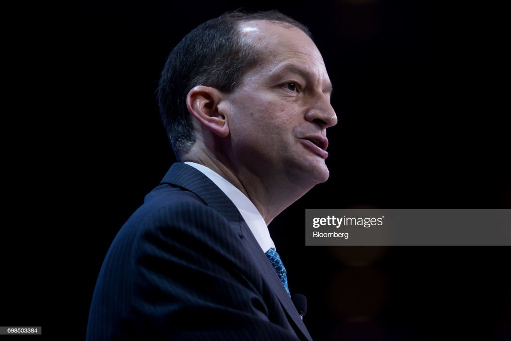 Alexander Acosta, U.S. labor secretary, speaks during the SelectUSA Investment Summit in Oxon Hill, Maryland, U.S., on Tuesday, June 20, 2017. The SelectUSA Investment Summit brings together companies from all over the world, economic development organizations from every corner of the nation and other parties working to facilitate foreign direct investment (FDI) in the United States. Photographer: Eric Thayer/Bloomberg via Getty Images