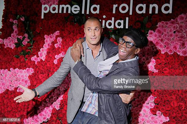 J Alexander and Nigel Barker attend the Fall 2015 Bridal Collection Pamella Rowland Presentation at The Glasshouses on October 13 2014 in New York...