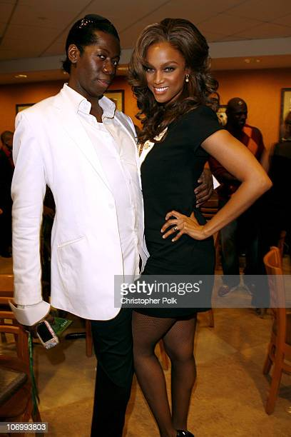 J Alexander and Tyra Banks during CW Launch Party Inside at WB Main Lot in Burbank California United States