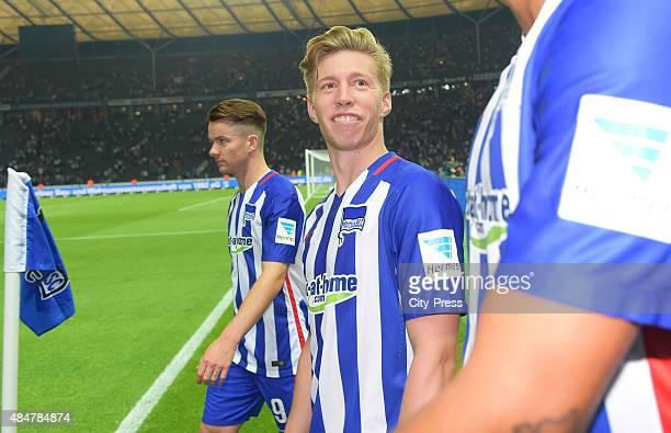 Alexander Baumjohann and Mitchell Weiser of Hertha BSC during the game between Hertha BSC and Werder Bremen on August 21 2015 in Berlin Germany