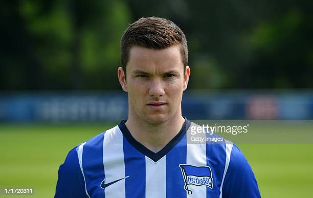 Alexander Baumjohann of Berlin pose during the official Hertha BSC Berlin team presentation at the training ground of the team on June 28 2013 in...