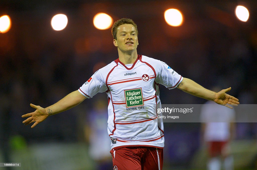 Alexander Baumjohann of Kaiserslautern celebrates after scoring the opening goal during the Second Bundesliga match between Erzgebirge Aue and 1. FC Kaiserslautern at Erzgebirgs Stadium on April 15, 2013 in Aue, Germany.