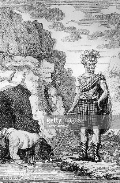 Alexander Bean aka Sawney Bean outside his cave in South Ayrshire Scotland circa 1500 He and his family are said to have killed and eaten over 1000...
